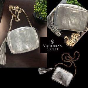 Victoria's secret metallic silver crossbody bag